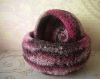 Pink/Brown Camo  Mini Felted  Whatnot/Ring  Bowls  - Set of  2
