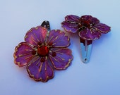 Set of Fuschia Flower Barrettes, Pink Barrette, Flower Snap Barrette