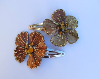Set of Chocolate Brown Flower Barrettes, Brown Barrettes, Flower Snap Barrettes