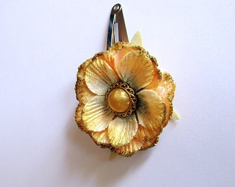 Mustard Yellow & Gold Flower Barrette, Yellow Barrette, Flower Snap Barrette