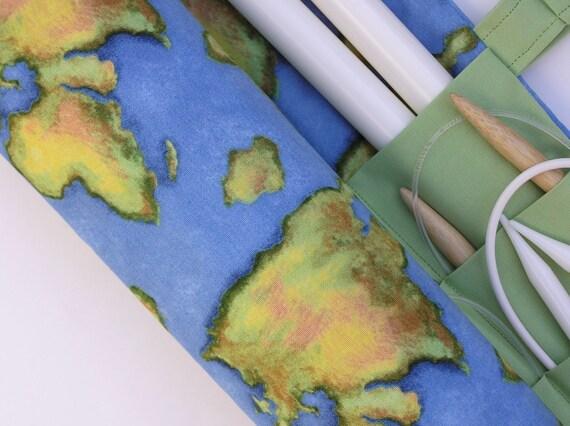large knitting needle organizer - knitting needle case - world map - 36 pockets