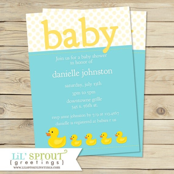 duck baby shower invitations girl rubber duck shower invitation