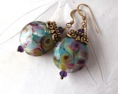 Artisan Lampwork Earrings, Glass Bead Earrings, 14kt Gold Fill, Natural Amethyst Aqua and Violet Gold Earrings, Colorful Earrings, Stephanie