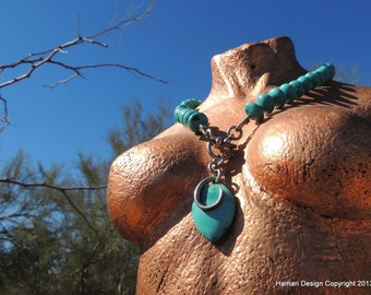 Stunnning Turquoise Rondelles and Sterling Silver Necklace
