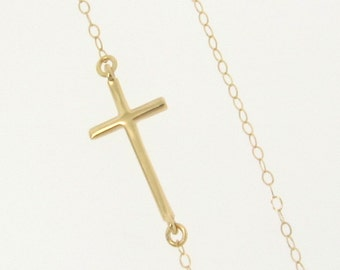 Sideways Cross Necklace, 14k Yellow, White or Rose Gold - Small, Sleek, And Subtle Set Off Center