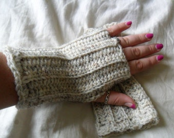 Wool Blend Crocheted Wheat Fingerless Gloves - Off White, Ivory, Beige, Brown, Black - Great for Fall Fashion
