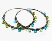 Silver Hoop Earrings Blue and Green Swarovski Crystal