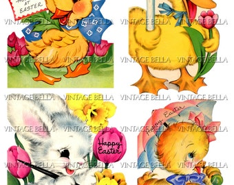Vintage 1940s Easter Bunny, Chick, and Duck Greeting Card Digital Download 340 - by Vintage Bella