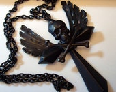Gothic Dark Skull and Cross Necklace, SURRENDER, Holy, Holy Wings, Custom Dark Patina, Hand Made Original Jewelry Art