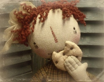 """Primitive E-PATTERN 23"""" Raggedy Doll and Cookies A Balanced Diet"""