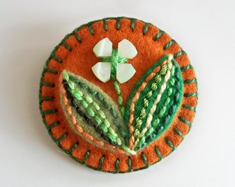 Hand Embroidered Felt Brooch with Vintage MOP Button Flower
