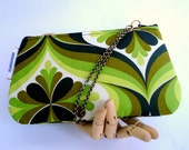 SALE - Wristlet, iPhone Case, Small Purse, Green and Black Retro Design, Handmade in Austin, Texas