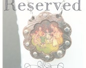 Reserved For D'Arsie - Scalloped Circle Necklace - Antique Children's Book Illustration