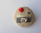 Hand Embroidered I Heart My Camera Button Badge