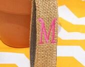 Custom Burlap Personalized Wristlet Any Initial You Pick Keyfob with Monogram Key Holder