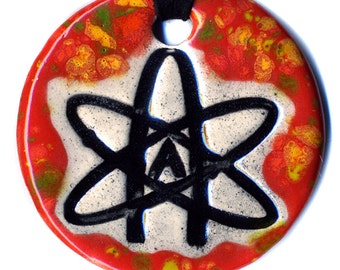 Atheist Symbol Ceramic Necklace in Red