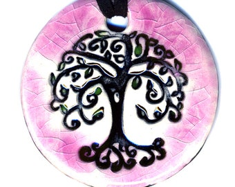 Tree Ceramic Necklace in Pink Crackle