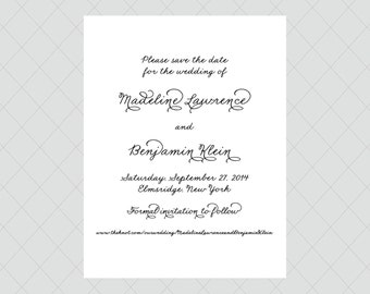 Fancy Script Save the Date Cards - Black and White Save the Dates