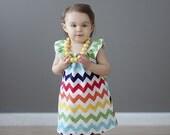 Girls Rainbow Dress Chevron Polkadot Dress Sweet Simple Dress Chevron Dress