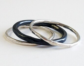 Stacking Rings - Silver Rings - Silver Stacking Rings - Thumb Rings for Women - Contrast Silver Bands - Stackable Rings - Layered R4069