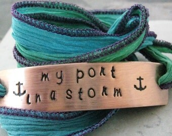 My Port In a Storm Wrap Bracelet, silk ribbon wrap, choice of color, I Rely on You, Anniversary gift for her, Wife's bracelet, I need you
