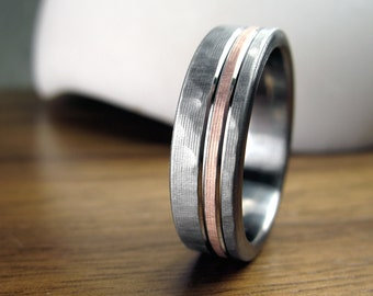 Hammered Rose Gold Wedding Ring Comfort Fit Interior