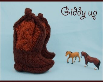 Giddyup: Baby Cowboy Bootie Knitting Pattern