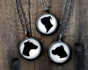 Custom Dog Breed Necklace - Bronze or Antique Silver Cameo Pendant - Customized Dog Breed Necklace  - Gift for Pet Lover, Dog Owner