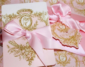 Wedding Invitations Marie Antoinette Pink and Gold Cameo Silhouette Includes Custom Type Set 10 Invitations Minimum