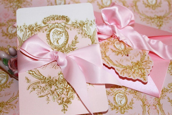 wedding invitations marie antoinette pink and gold cameo, Wedding invitations
