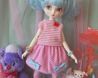 Fairy Kei Polka Dot MINI Skirt Pink with Blue Bows for Leekeworld Art body and SD Super Dollfie bjds lolita cute mikhaila