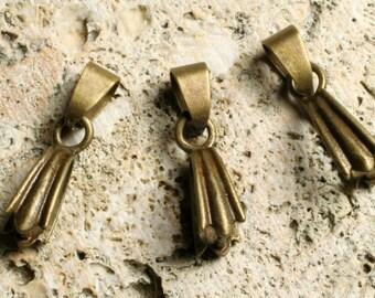 Antique brass pendant bail 14x5mm, 6 pcs (item ID YWABHA00058)