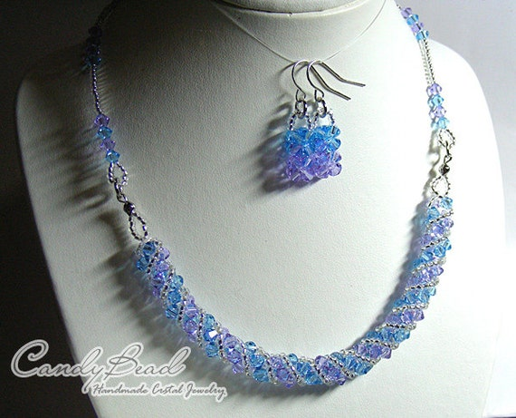 RESERVED FOR ALLY, Violet and Aquamarine necklace and earrings