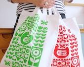 Screen Printed Scandinavian Chicken Shopper Bag by Jane Foster Cotton Fabric