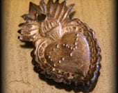 On Reserve for WOL Beautiful Antique Silver Milagro Sacred Heart from South America