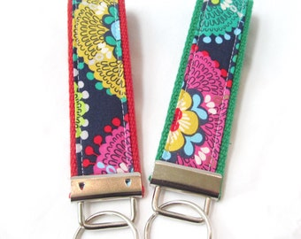 Wristlet Key Fob Key Chain in Bold Floral on Navy - Modern Color Pop - Fabric Keychain on your choice of webbing