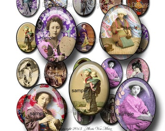30mm x 40mm cabs,  Geishas... designed for resin pendants and glass tile pendants  INSTANT Download at Checkout, oriental, orient,zen