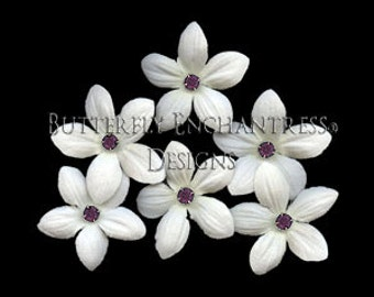 Wedding Hair Flowers, Bridal Flower, Floral Hairpins - 6 Creamy White Stephanotis Hair Pins - Dk Plum Purple Rhinestone Centers
