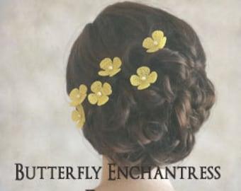 Burlap Wedding Flowers, Rustic Hair Accessories, Woodland Bridal Hairpins - 6 Yellow Burlap Hydrangea Flower Hair Pins