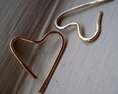 We Are in Love - Teeny Tiny 14K Gold Filled Heart Open Hoop Earrings