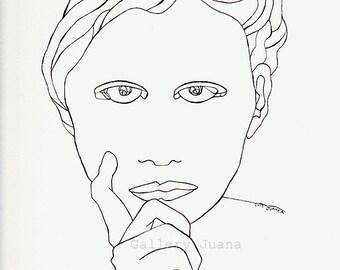 pen line drawing, original portrait, yearbook art