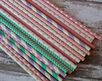 Pink Purple Blue Straws,Princess birthday, paper straws, stripes chevron, stars dots, checks lavender, aqua shower, pastel straws, wedding