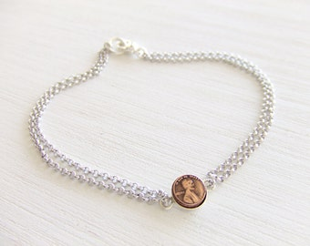Penny Jewelry Bracelet- Tiny Coin - Brass Copper / Sterling Silver Jewelry