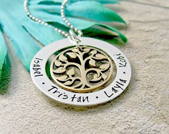 Family Tree Necklace, Hand Stamped Jewelry, Personalized Necklace For Mother Grandmother, Personalized Family Name Necklace, Gift For Mom