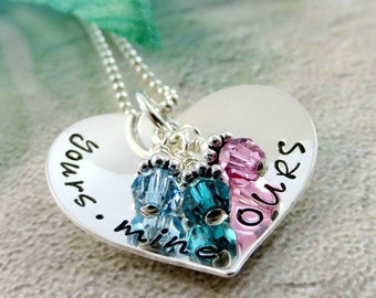 Yours Mine Ours Necklace - Blended Family Necklace - Family Birthstone Necklace - Sterling Silver Personalized Heart Jewelry - Gift For Mom