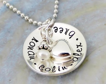 Cup Of Love Necklace - Personalized Sterling Silver Hand Stamped Jewelry - Mother Necklace - Grandmother Gift - Custom Personalized Necklace