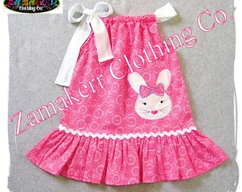 Easter Bunny Pillowcase Dress Custom Boutique Girl Clothing Toddler Birthday Outfit Clothes Set 3 6 9 12 18 24 MONTH SIZE 2t 3t 4t 5t 6 7 8