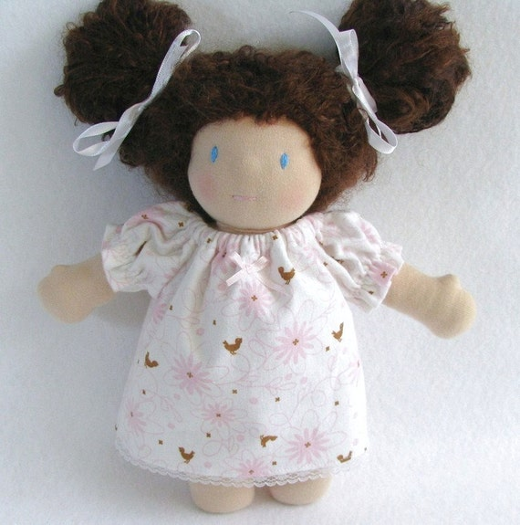 10 inch Waldorf doll's flannel nightgown - pink flowers and happy brown birds