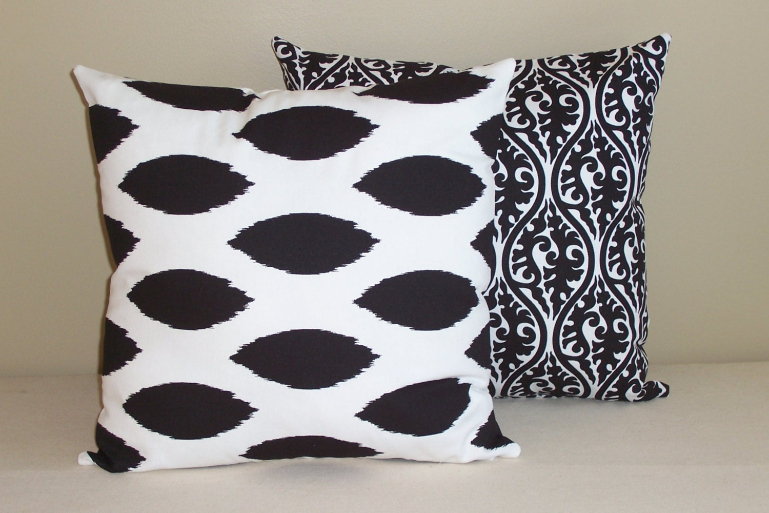 Set of 2 Throw Pillow Covers 18x18 Black and White by ktechstyles
