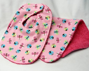 Baby Girl Bib and Burp Cloth, Baby Shower Gift, Welcome Baby Gift: Ladybugs and Butterflies on Pink
